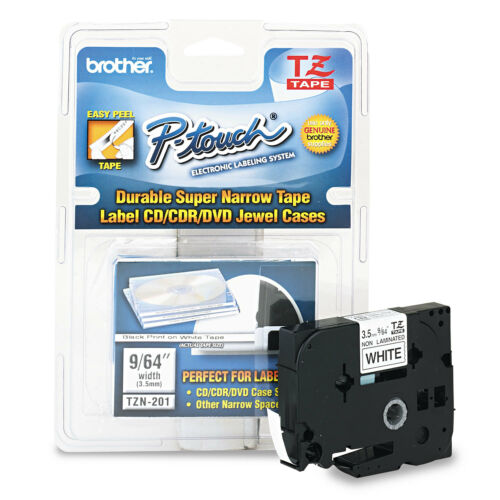 Brother P-Touch TZ Super-Narrow Non-Laminated Tape for P-Touch Labeler 1//8w