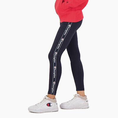 Champion Wmn S Jacquard Logo Tape Training Leggings Dark Blue Active Wear Ebay