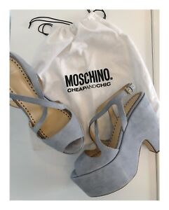Designer-Moschino-Cheap-And-Chic-Light-Blue-Suede-Platform-Heels-Size-40IT