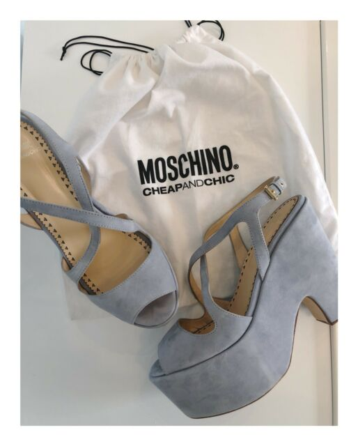 Designer Moschino Cheap And Chic Light Blue Suede Platform Heels Size 40IT