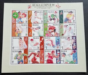 1998-Malaysia-XVI-Commonwealth-Games-Sports-16v-Stamps-Sheetlet-Mint-NH