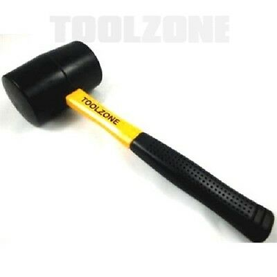 16 Oz Fiberglass Handle Double Faced Rubber Mallet Construction Woodworking Tool