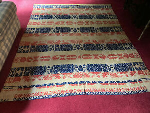 Antique-Coverlet-Signed-amp-Dated-1848-Blue-Red-Cream