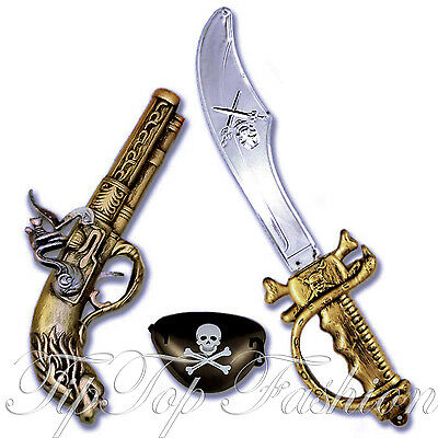 Plastic Pirate Sword Gun Eyepatch Fancy Dress Costume Accessories Cutlass Musket