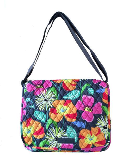 Vera Bradley Messenger Bag In Jazzy Blooms With Orange Interiors