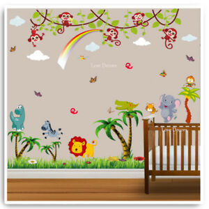 Image Is Loading Monkey Wall Sticker Animal Owl Jungle Zoo Dinosaur