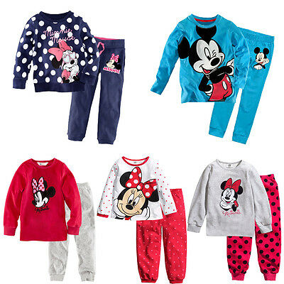 Lovely Minnie Mickey Mouse Dot Kids Girls Boys Nightwear Pajamas Set Sleepsuit