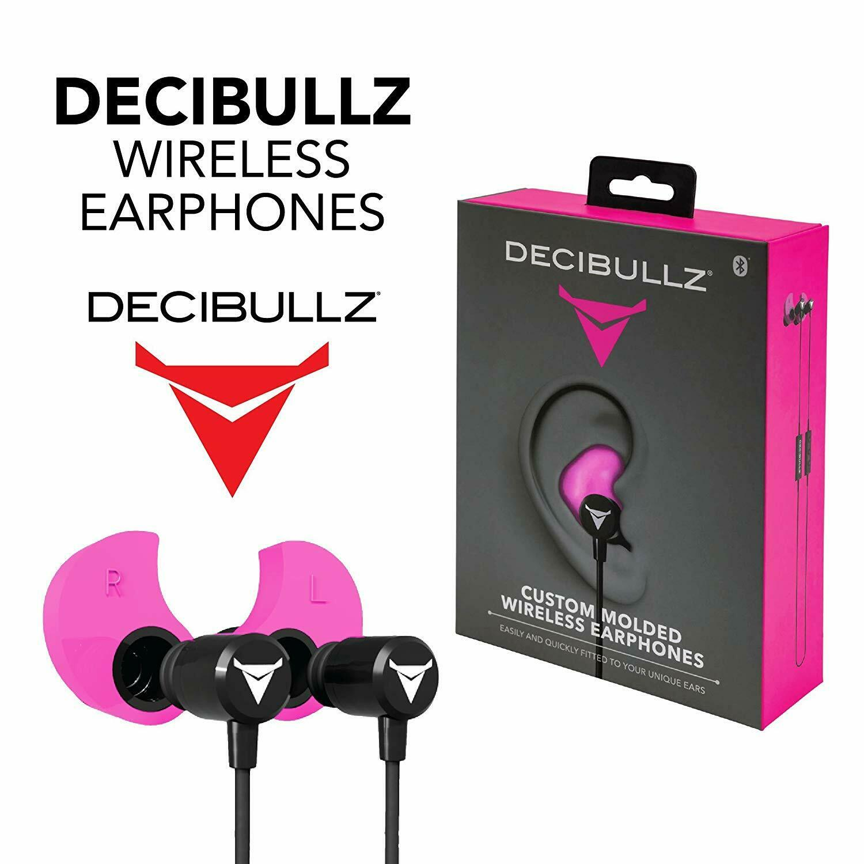 Bluetooth Earphones in Pink Decibullz WL2-PNK Custom Molded Fit Wireless
