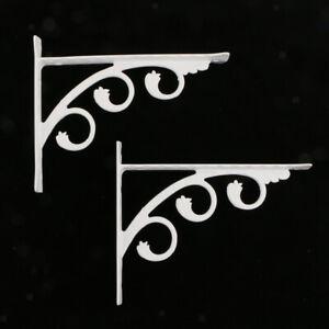 Chrome-Wall-Shelf-L-Shaped-Floral-Carved-Display-Shelf-Brackets-12x15cm-2Pcs