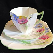 Shelley Queen Anne Sea Anemone Tea Cup Saucer And Dessert Plate Trio