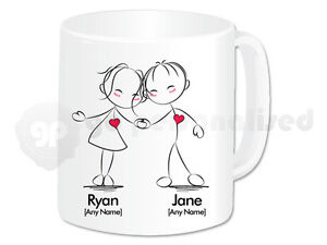 22cab1cc7 Image is loading Personalised-Love-Mug-Hand-in-Hand-Couple-Design-