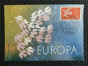 FRANCE-MK-1961-EUROPA-CEPT-TAUBE-PIGEON-MAXIMUMKARTE-MAXIMUM-CARD-MC-CM-c1636