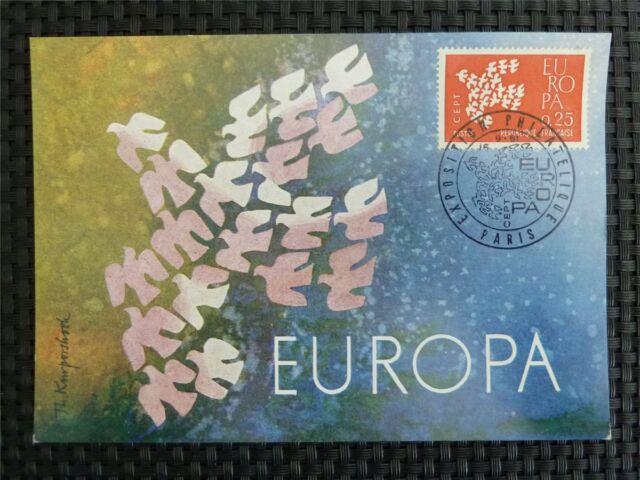 FRANCE MK 1961 EUROPA CEPT TAUBE PIGEON MAXIMUMKARTE MAXIMUM CARD MC CM c1636