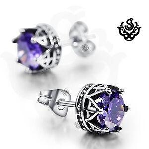 Silver-earrings-purple-crystal-stainless-steel-crown-stud-1-25ct-tension-backs
