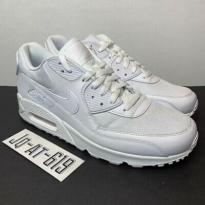 finest selection f863e 0d0de Nike Air Max 90 Essential Mens 537384-111 Triple White Running Shoes Size  12 886737443668   eBay