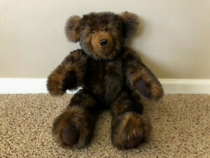 """Fully Jointed Dark Brown 20"""" Teddy Bear by Mary L. Thiele; Vintage 1990s; MINT"""