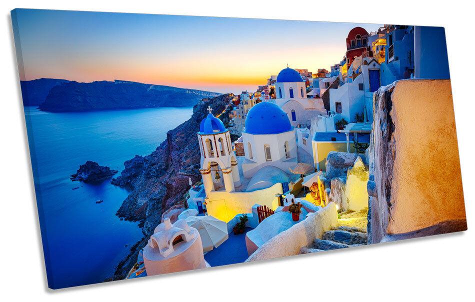 Greece Sunset Santorini CANVAS ART Print Panoramic Picture