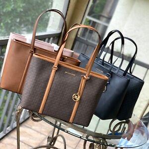 Details about Michael Kors Large XL Leather shoulder Tote Handbag Bag Laptop Purse Black Brown