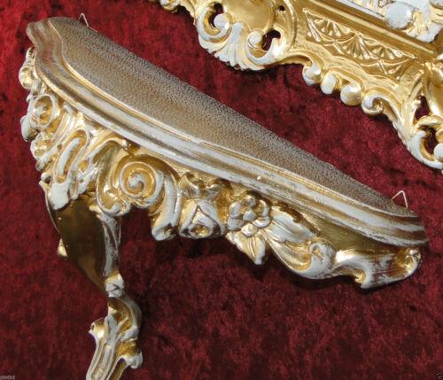 Wandspiegel ornament Ablage 31x21x12 Regal Konsole Barock Antik Gold-Weiß  Antik