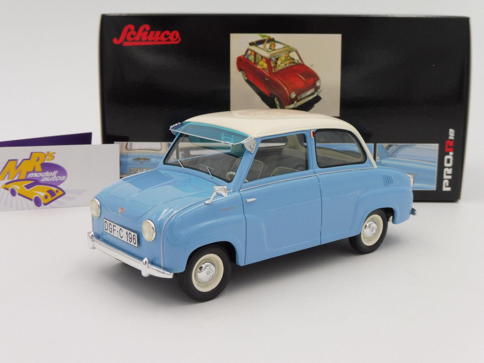 Schuco Pro.R 00096   Goggomobil Limousine Baujahr 1965   hellblau-weiß   1 18