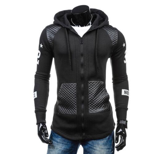 Men/'s Long Sleeve Full Zip Hoodie Cotton Hooded Tops Gym Jogging Slim Shirts