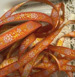 VINTAGE-Jacquard-SILK-3-8-034-TRIM-FRANCE-RIBBON-1yd-Embroidered-FLOWERS