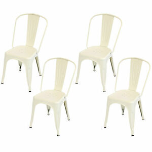 Cream Industrial Metal Dining Chair Cafe Bistro Vintage Stacking