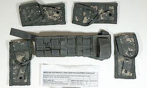 MOLLE-II-Pistolman-Set-ACU-Camo-Leg-Extender-4-Magazine-Mag-Pouches-NEW
