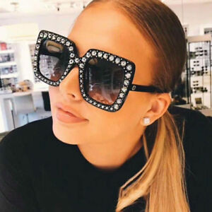 0e3314f6f0 Image is loading Oversized-Large-Square-Frame-Bling-Rhinestone-Sunglasses- Women-