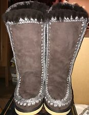 MOU Eskimo Shearling Tall Boots In Dark Brown Size 38 UK