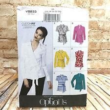 Vogue 8833 Womens Plus Size Wrap Blouse Shirt Top Sz 16 24 Uncut Sewing Pattern