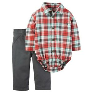 6ae39e9f6 Baby Boys  Carter s 2 Piece Long-Sleeve Orange Plaid Pant Set