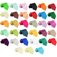 Boys Regular Tie + Free Bow Tie Satin Plain Wedding Adjustable Pretied by DQT