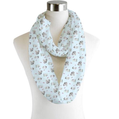 Infinity Scarf Jersey Chiffon Blue Bunnies Unisex Fashion Loop Scarves Rabbit