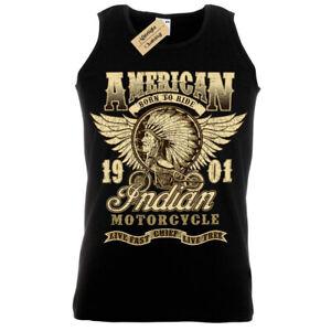 Capo-Indiano-T-Shirt-Motocicletta-American-Biker-Gilet-Uomo
