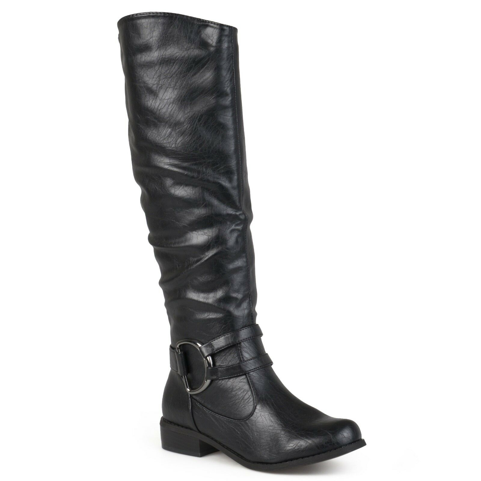 Brinley Co. Women's Black Ring Accent Tall Motorcycle Boots Size 9