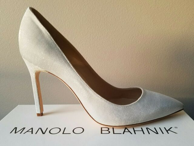 5b9c943fbed MANOLO BLAHNIK BB 105 MM NOTTURNO WHITE SPARKLY PUMPS 39.5 WEDDING I LOVE  SHOES