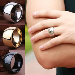 Men Women Titanium Stainless Steel Band Ring Wedding Engagement Jewelry Sturdy