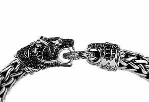 John Hardy Legends Macan Black Sapphire Tiger Head Silver