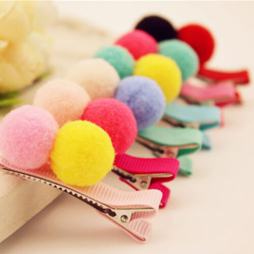 2//5//10 Pcs Cute Balls Hair Clips for Girls Kids Hair Accessories Random EFC