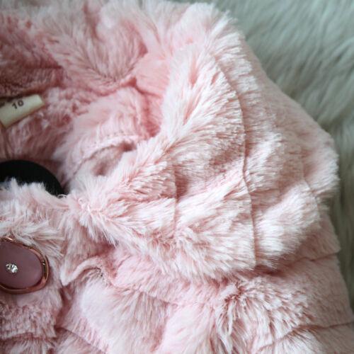 Toddler Girls Faux Fur Fleece Coat Kids Winter Warm Lace Jacket Parka Bubble Top