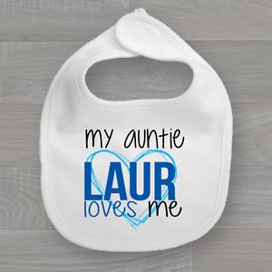 Personalised My Auntie Loves Me Heart Baby Bib Boys Feeding Dribble Muslin