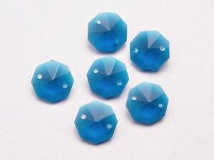 10pcs-14mm-2-Holes-Octagon-Faceted-Crystal-Glass-Charms-Loose-Beads-Peacock-Blue