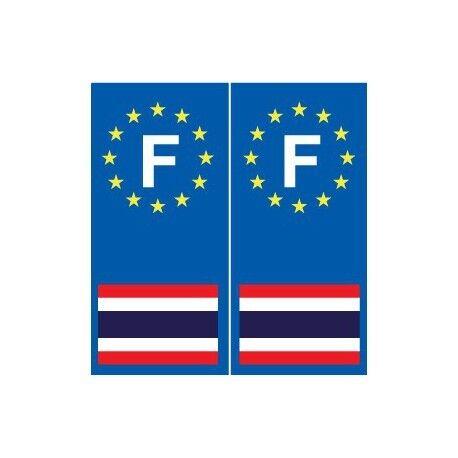 F Europe Thaïlande autocollant plaque arrondis