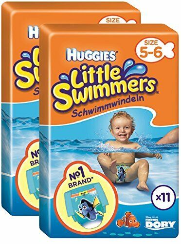 Huggies Little Swimmers Size 5-6 Nappies 22 Nappies 2 x Packs of 11