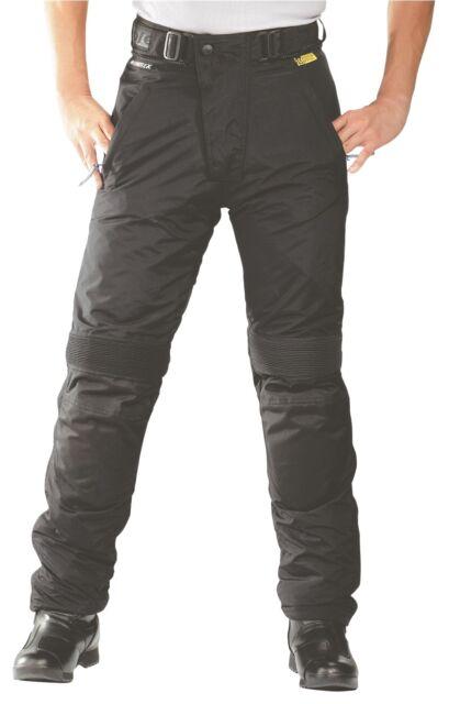 Roleff Pantalone Pantaloni motociclista Donna nero impermeabile con Ginocchio e