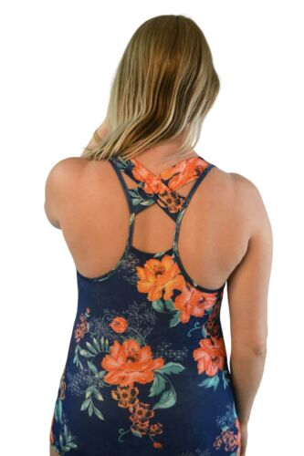 Famous Brand Ladies Running Vest Navy Floral Cross Back Breathable Activewear