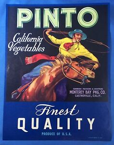ORIGINAL MONTEREY BAY CRATE LABEL PINTO COWBOY HORSE VINTAGE RODEO 7X7 1940S
