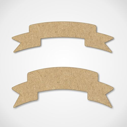 5 Pack MDF Banner Ribbon Shapes Wooden Craft Blanks Decoration Embellishments