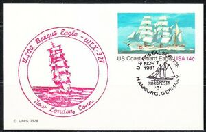 United-States-1981-post-card-cancel-in-New-London-to-Nordposta-Tall-ships